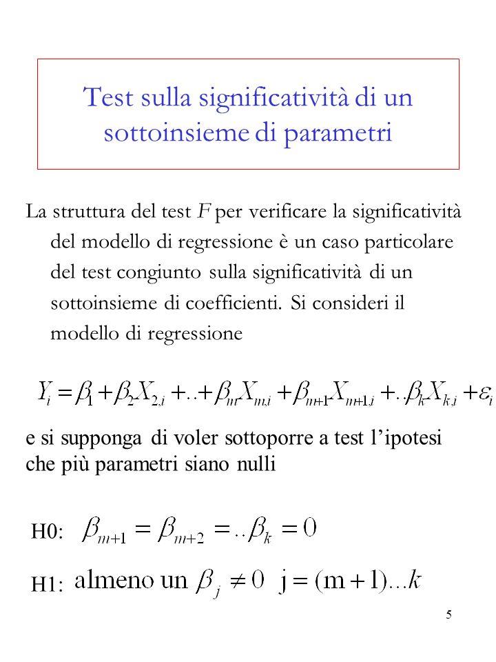6 Il modello sotto lipotesi nulla è chiamato modello vincolato (restricted model) e risulta Per sottoporre a test questa ipotesi, si confronta la devianza dei residui del modello vincolato Dev(H0) con quella del modello completo, o non vincolato (unrestricted model), Dev (H1).