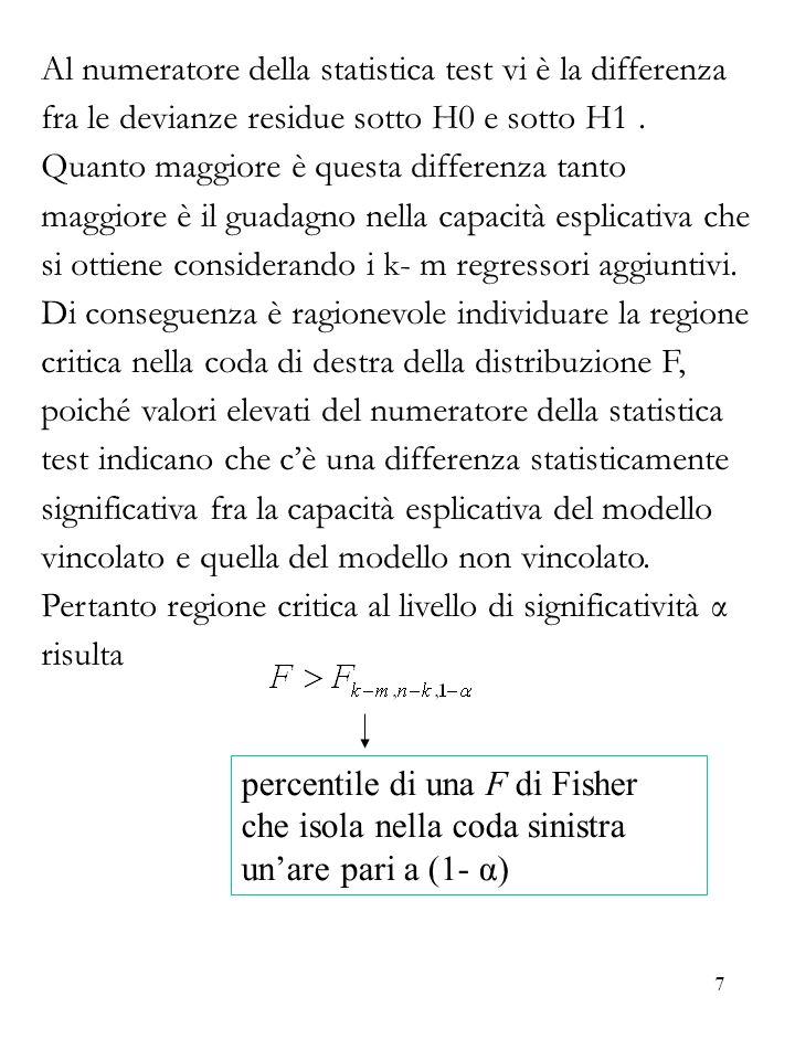 7 Al numeratore della statistica test vi è la differenza fra le devianze residue sotto H0 e sotto H1. Quanto maggiore è questa differenza tanto maggio
