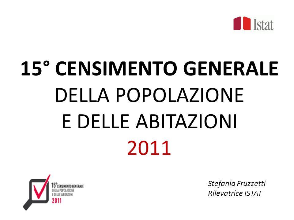 15° CENSIMENTO GENERALE DELLA POPOLAZIONE E DELLE ABITAZIONI 2011 Stefania Fruzzetti Rilevatrice ISTAT