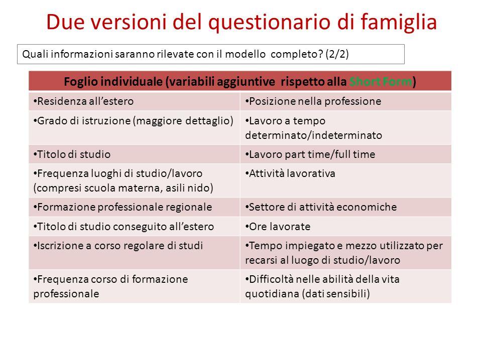 Due versioni del questionario di famiglia Foglio individuale (variabili aggiuntive rispetto alla Short Form) Residenza allestero Posizione nella profe