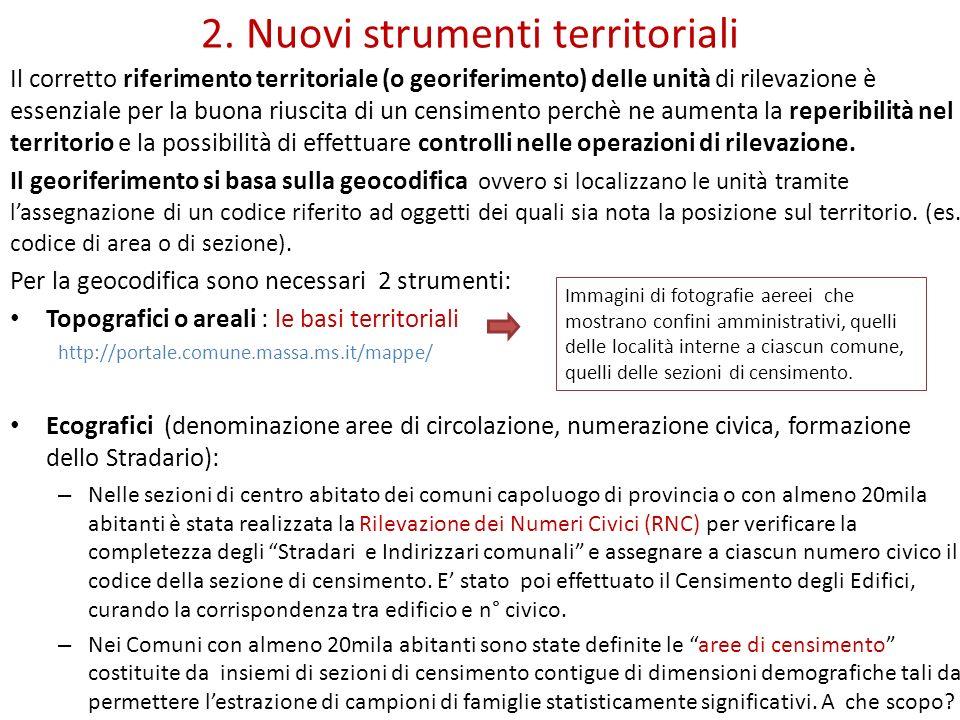 2. Nuovi strumenti territoriali Il corretto riferimento territoriale (o georiferimento) delle unità di rilevazione è essenziale per la buona riuscita