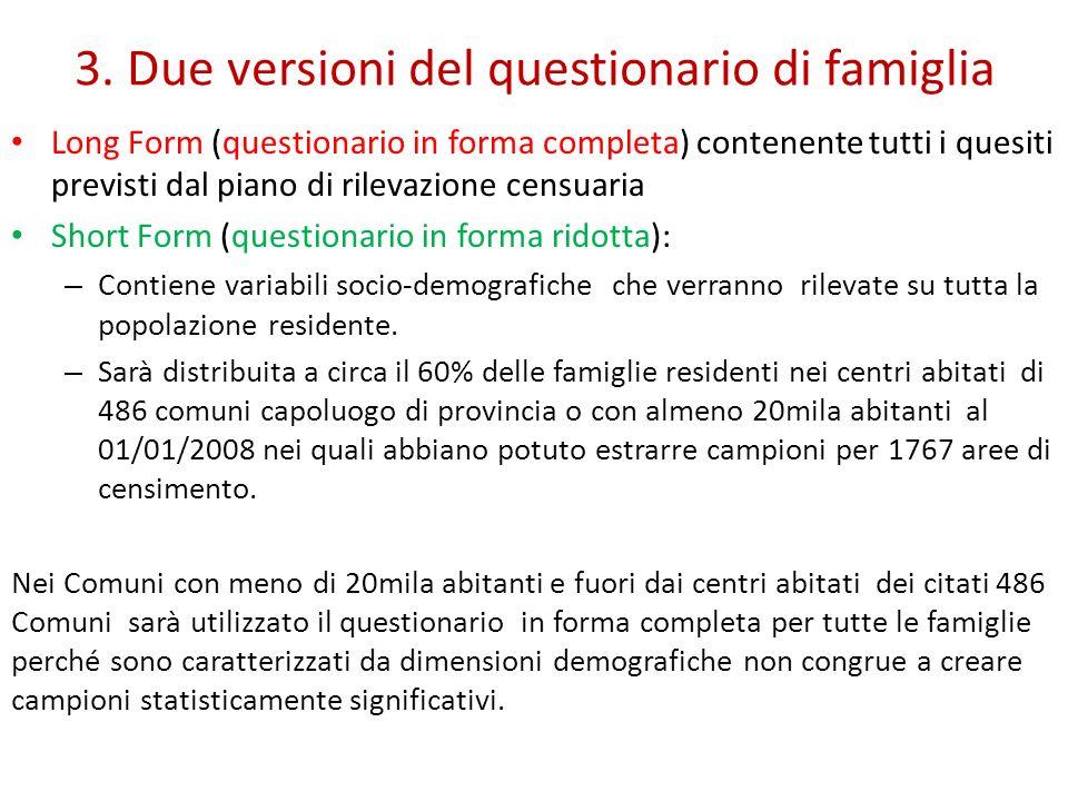 3. Due versioni del questionario di famiglia Long Form (questionario in forma completa) contenente tutti i quesiti previsti dal piano di rilevazione c