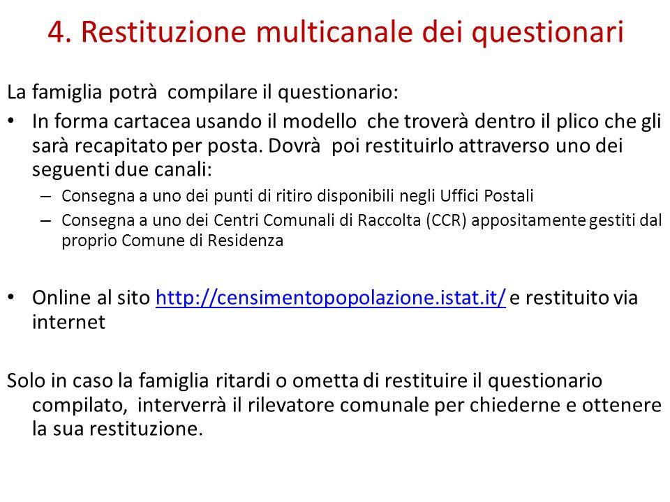 4. Restituzione multicanale dei questionari La famiglia potrà compilare il questionario: In forma cartacea usando il modello che troverà dentro il pli