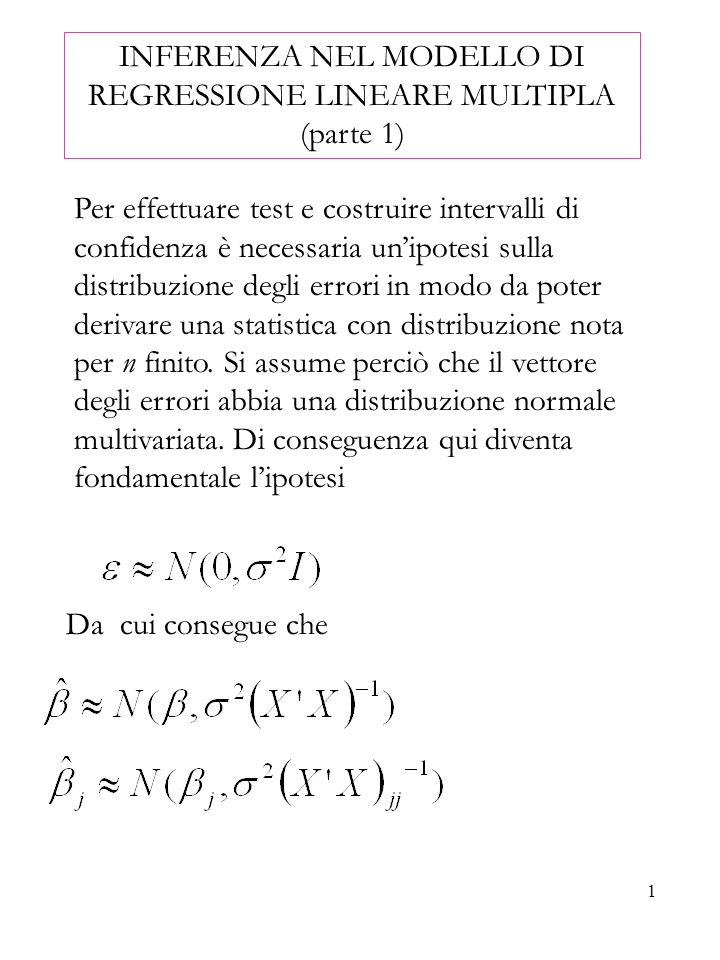 1 INFERENZA NEL MODELLO DI REGRESSIONE LINEARE MULTIPLA (parte 1) Per effettuare test e costruire intervalli di confidenza è necessaria unipotesi sull
