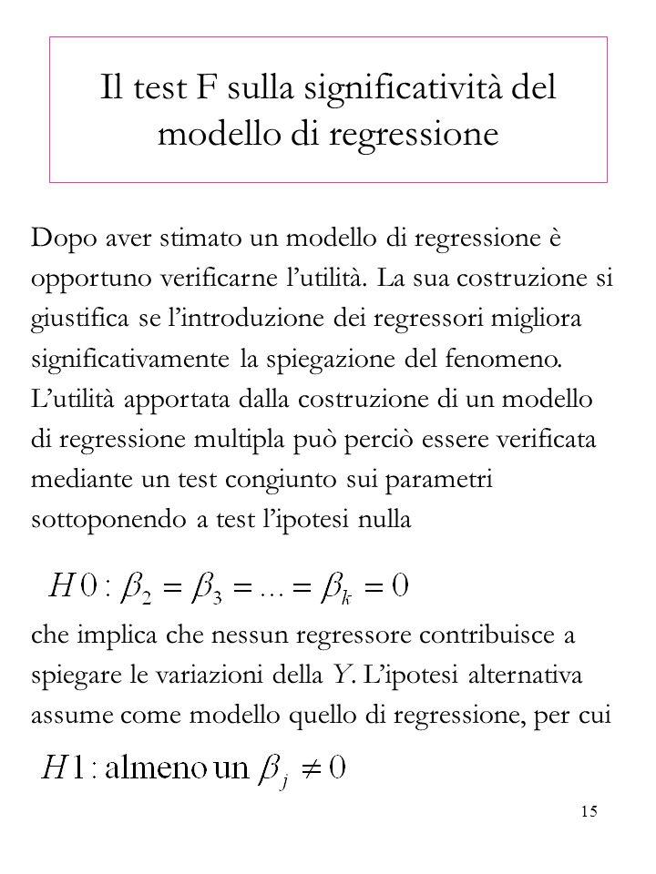 15 Il test F sulla significatività del modello di regressione Dopo aver stimato un modello di regressione è opportuno verificarne lutilità. La sua cos