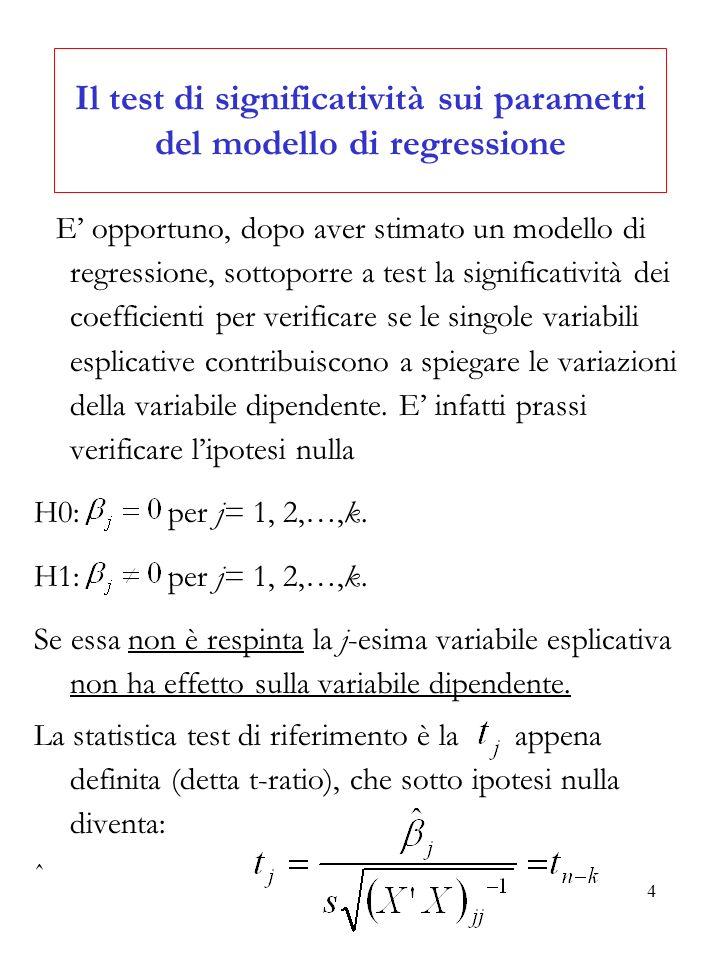 4 Il test di significatività sui parametri del modello di regressione E opportuno, dopo aver stimato un modello di regressione, sottoporre a test la s