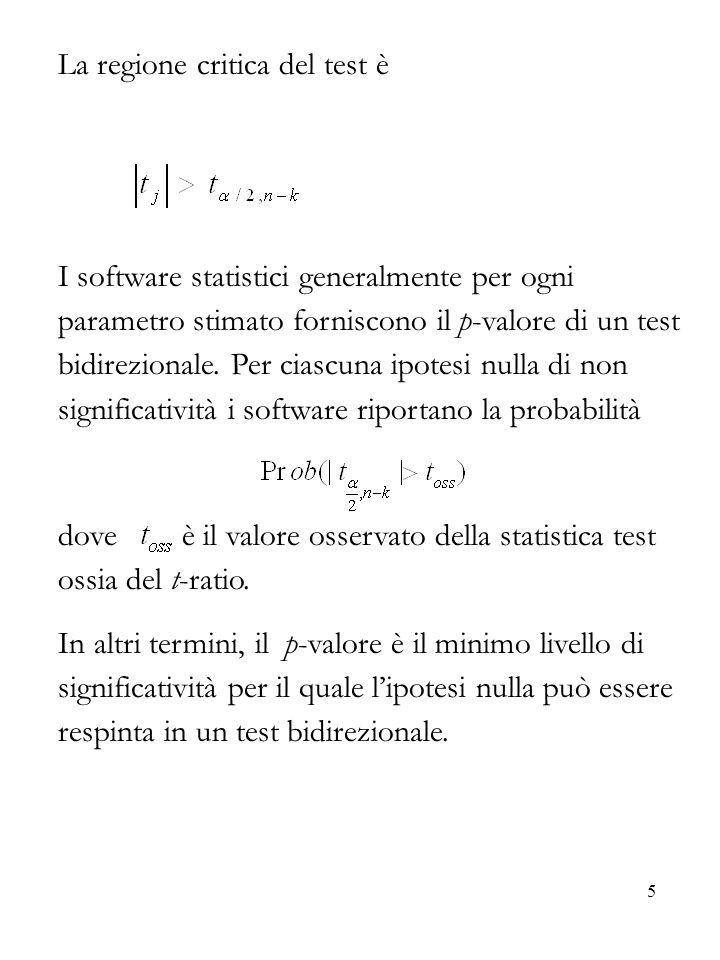 5 La regione critica del test è I software statistici generalmente per ogni parametro stimato forniscono il p-valore di un test bidirezionale. Per cia