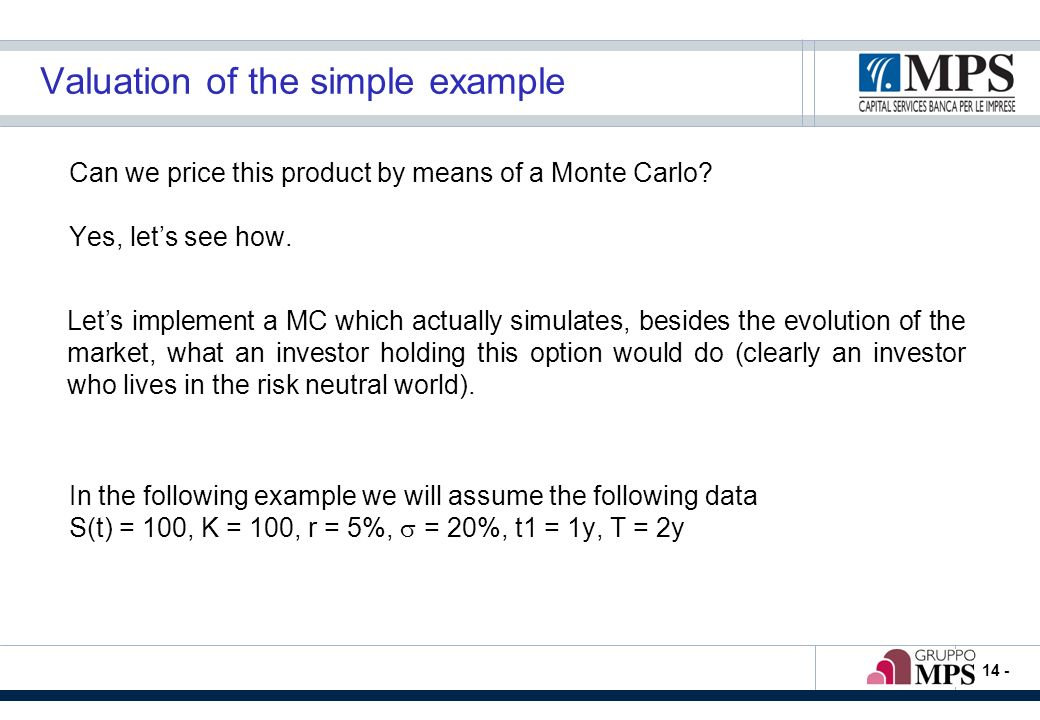 - 14 - Valuation of the simple example Can we price this product by means of a Monte Carlo.