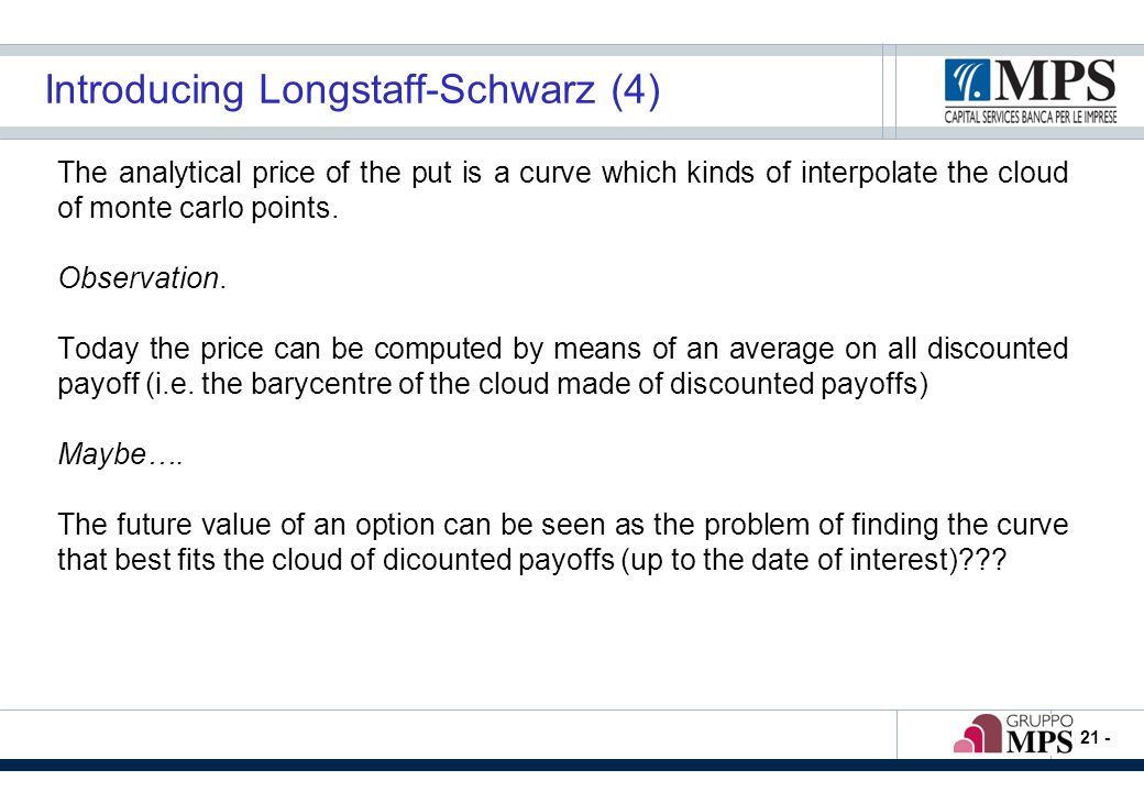 - 21 - Introducing Longstaff-Schwarz (4) The analytical price of the put is a curve which kinds of interpolate the cloud of monte carlo points. Observ