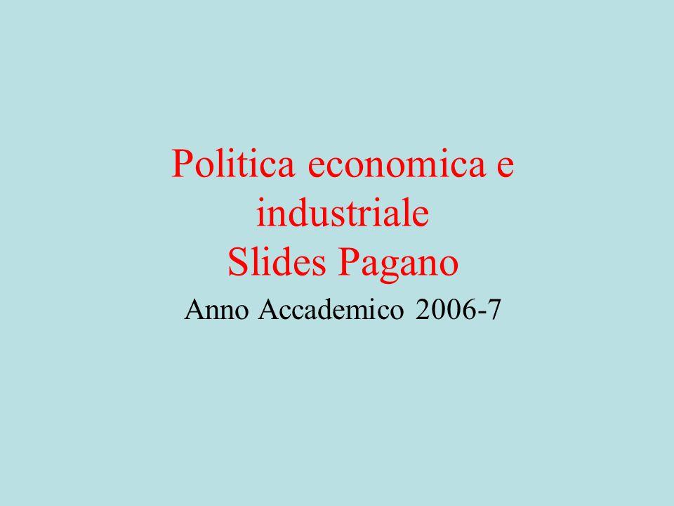 POLITICA ECONOMICA E INDUSTRIALE 1) Introduzione: la politica economica fra istituzioni alternative al mercato e ostacoli alla concorrenza.