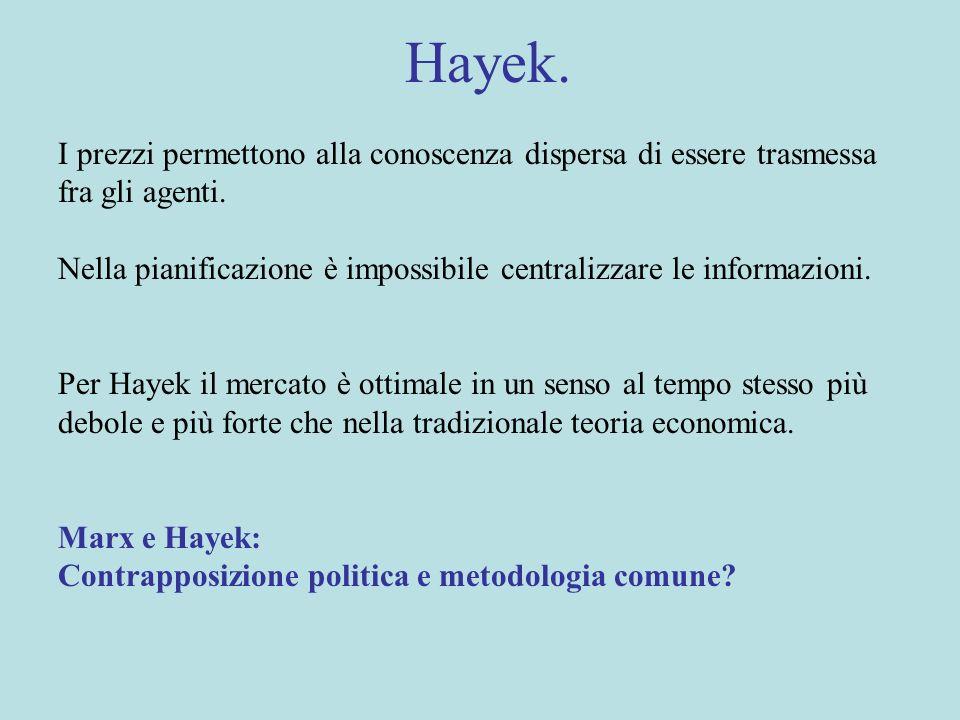 Hayek. I prezzi permettono alla conoscenza dispersa di essere trasmessa fra gli agenti.