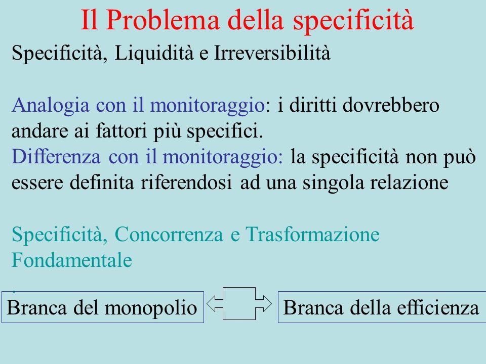 Il Problema della specificità Specificità, Liquidità e Irreversibilità Analogia con il monitoraggio: i diritti dovrebbero andare ai fattori più specifici.