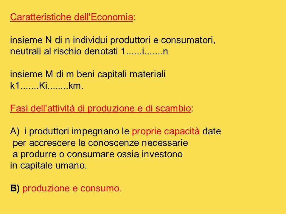 Caratteristiche dell Economia: insieme N di n individui produttori e consumatori, neutrali al rischio denotati 1......i.......n insieme M di m beni capitali materiali k1.......Ki........km.