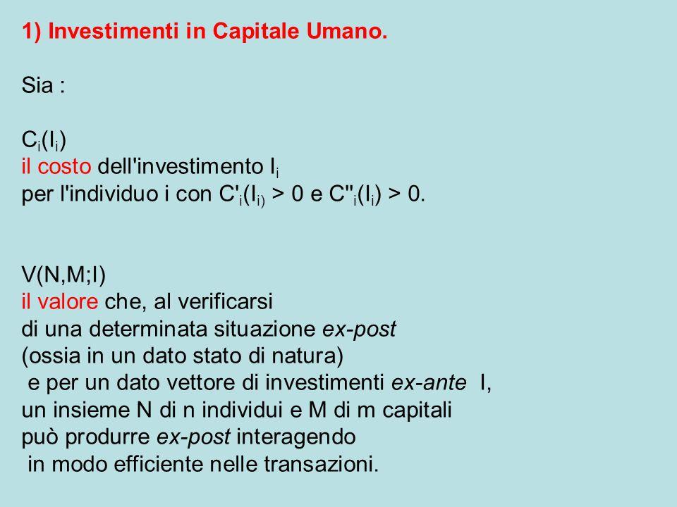 1) Investimenti in Capitale Umano.