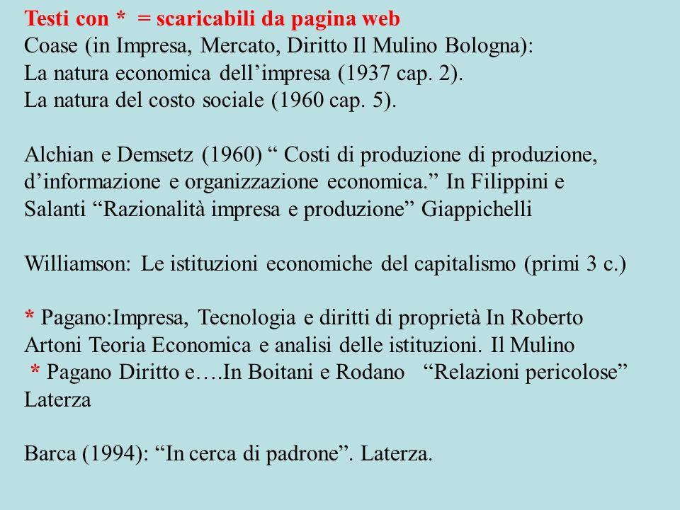 Testi con * = scaricabili da pagina web Coase (in Impresa, Mercato, Diritto Il Mulino Bologna): La natura economica dellimpresa (1937 cap.
