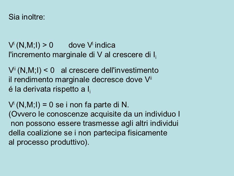 Sia inoltre: V i (N,M;I) > 0 dove V i indica l incremento marginale di V al crescere di I i V ii (N,M;I) < 0 al crescere dell investimento il rendimento marginale decresce dove V ii é la derivata rispetto a I i V i (N,M;I) = 0 se i non fa parte di N.
