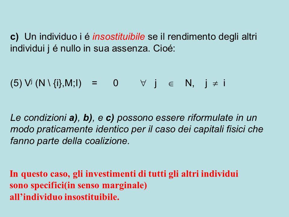 c) Un individuo i é insostituibile se il rendimento degli altri individui j é nullo in sua assenza.