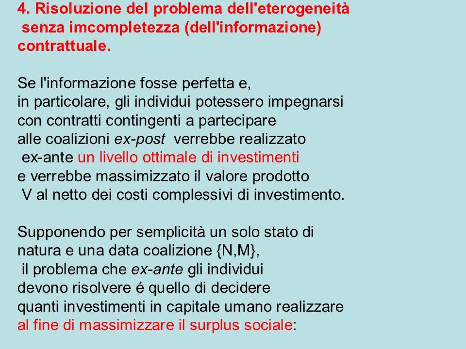 4. Risoluzione del problema dell eterogeneità senza imcompletezza (dell informazione) contrattuale.