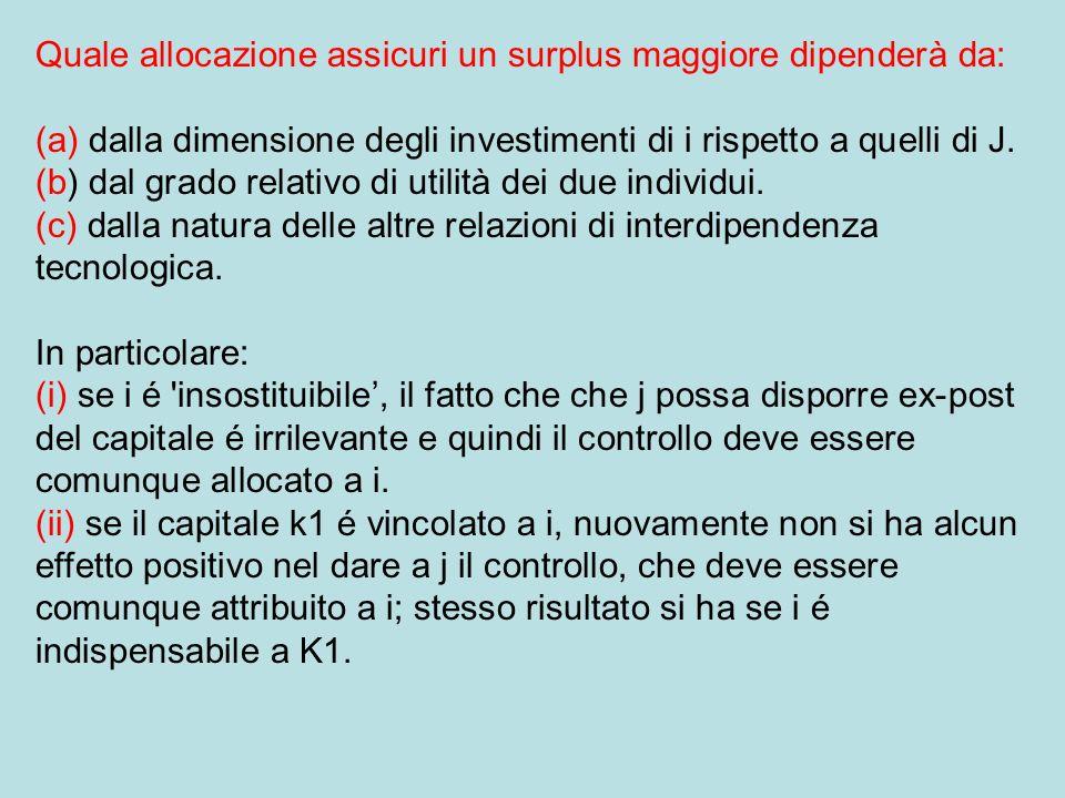 Quale allocazione assicuri un surplus maggiore dipenderà da: (a) dalla dimensione degli investimenti di i rispetto a quelli di J.