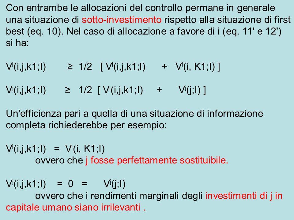 Con entrambe le allocazioni del controllo permane in generale una situazione di sotto-investimento rispetto alla situazione di first best (eq.