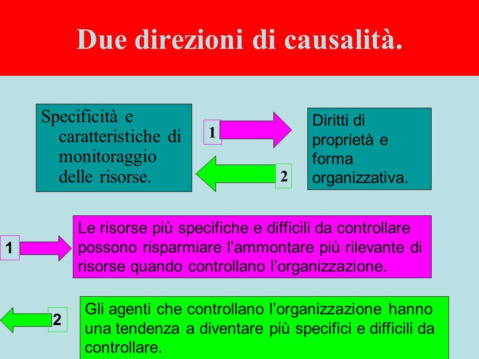 Due direzioni di causalità. Specificità e caratteristiche di monitoraggio delle risorse.