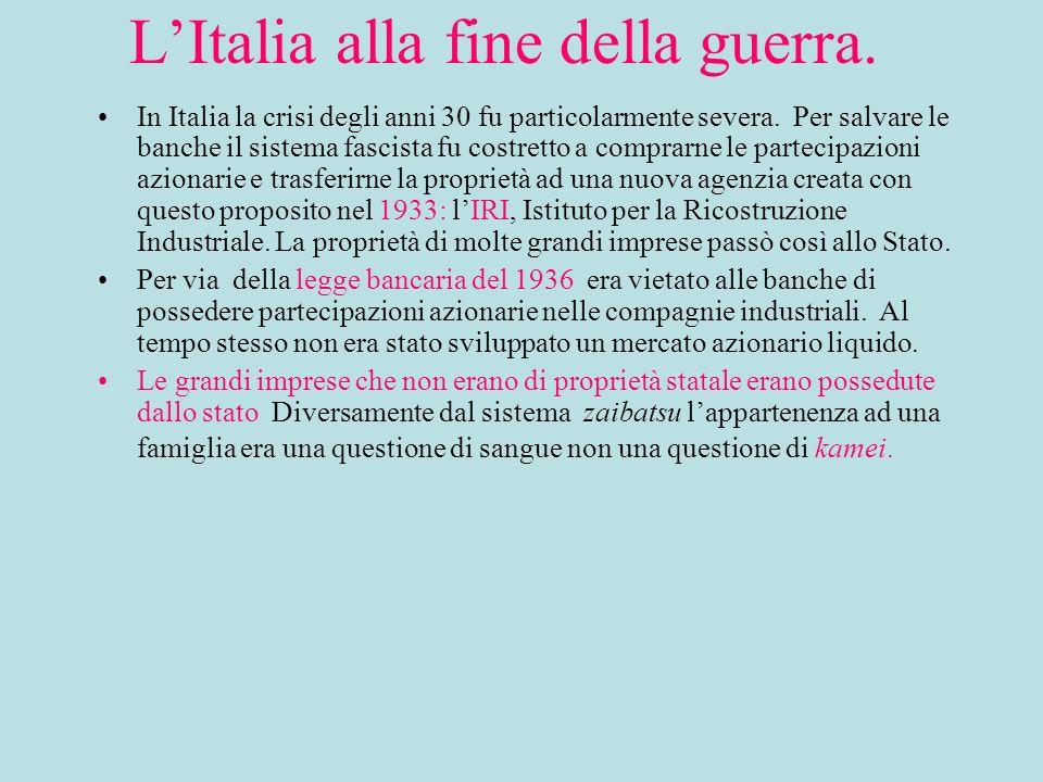 LItalia alla fine della guerra. In Italia la crisi degli anni 30 fu particolarmente severa.