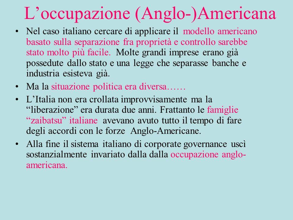 Loccupazione (Anglo-)Americana Nel caso italiano cercare di applicare il modello americano basato sulla separazione fra proprietà e controllo sarebbe stato molto più facile.