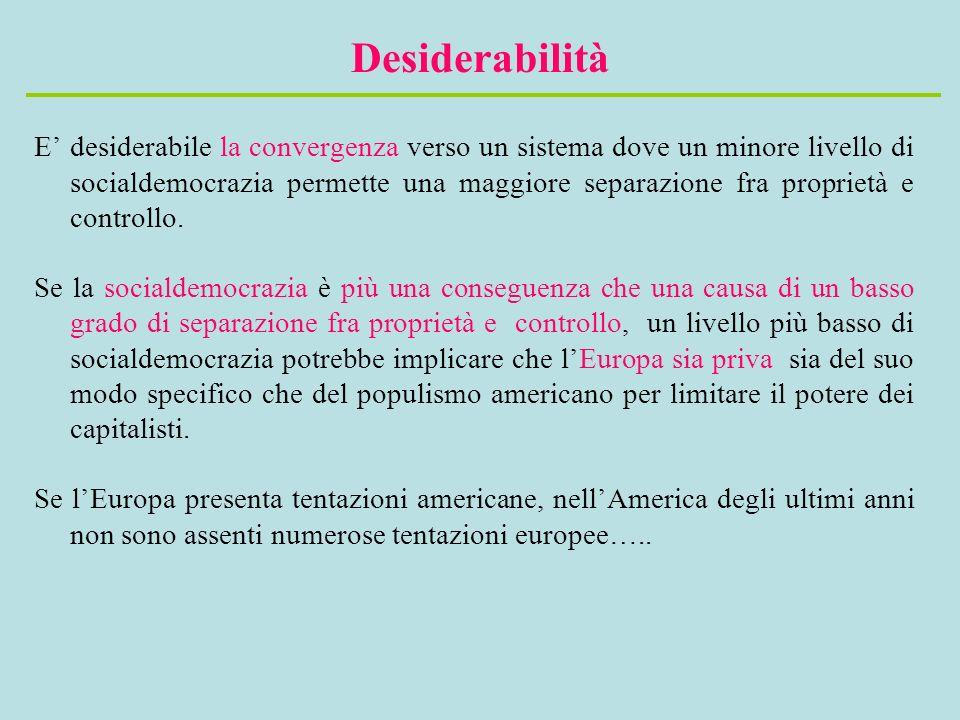 Desiderabilità E desiderabile la convergenza verso un sistema dove un minore livello di socialdemocrazia permette una maggiore separazione fra proprietà e controllo.