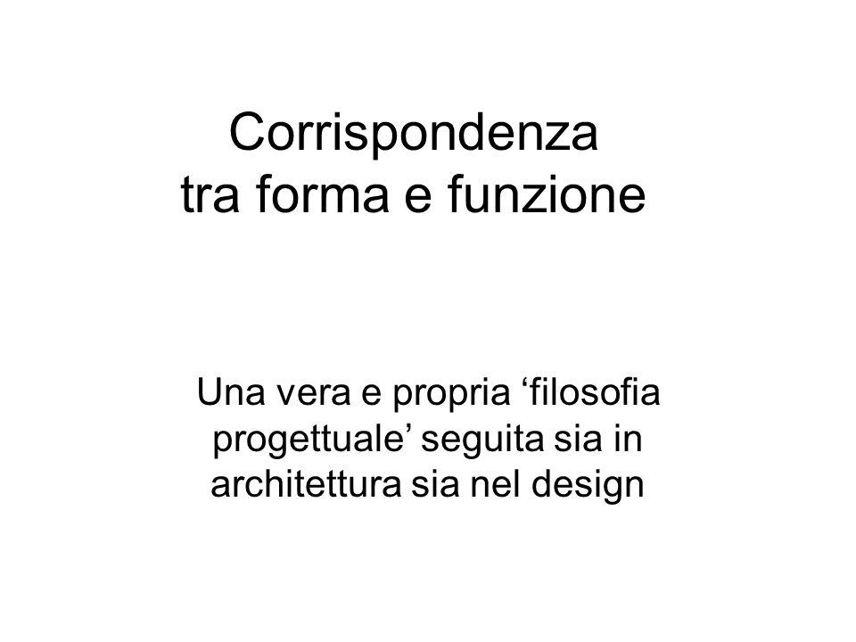 Corrispondenza tra forma e funzione Una vera e propria filosofia progettuale seguita sia in architettura sia nel design