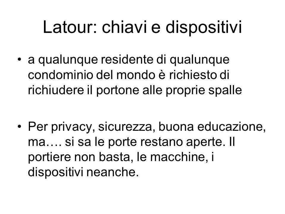 Latour: chiavi e dispositivi a qualunque residente di qualunque condominio del mondo è richiesto di richiudere il portone alle proprie spalle Per privacy, sicurezza, buona educazione, ma….