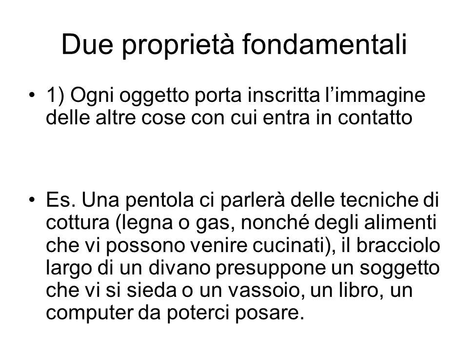 Due proprietà fondamentali 1) Ogni oggetto porta inscritta limmagine delle altre cose con cui entra in contatto Es.