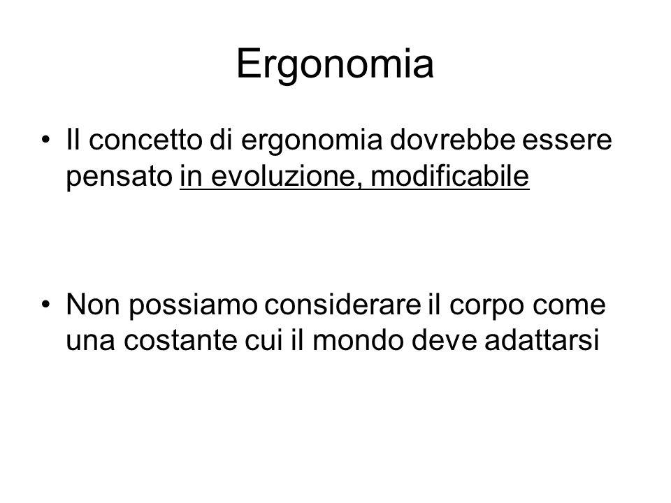 Ergonomia Il concetto di ergonomia dovrebbe essere pensato in evoluzione, modificabile Non possiamo considerare il corpo come una costante cui il mondo deve adattarsi