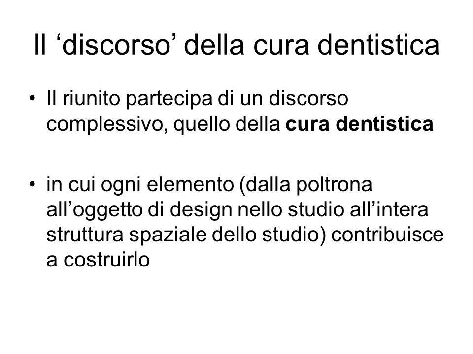 Il discorso della cura dentistica Il riunito partecipa di un discorso complessivo, quello della cura dentistica in cui ogni elemento (dalla poltrona alloggetto di design nello studio allintera struttura spaziale dello studio) contribuisce a costruirlo