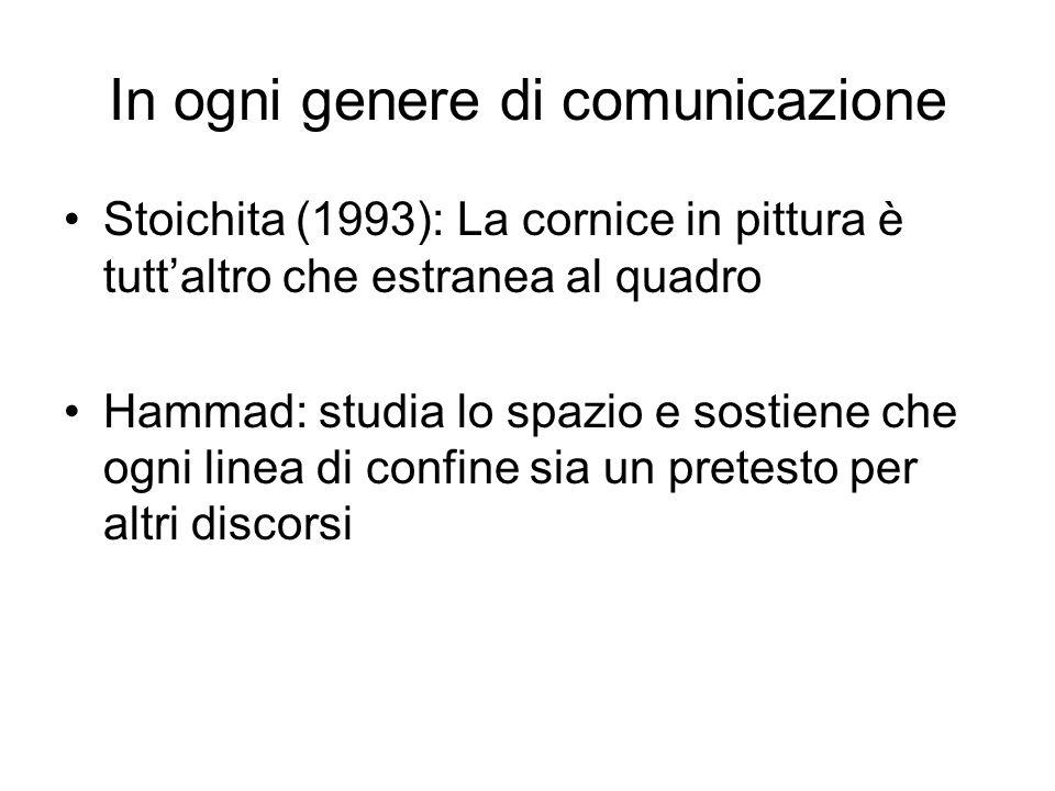 In ogni genere di comunicazione Stoichita (1993): La cornice in pittura è tuttaltro che estranea al quadro Hammad: studia lo spazio e sostiene che ogni linea di confine sia un pretesto per altri discorsi