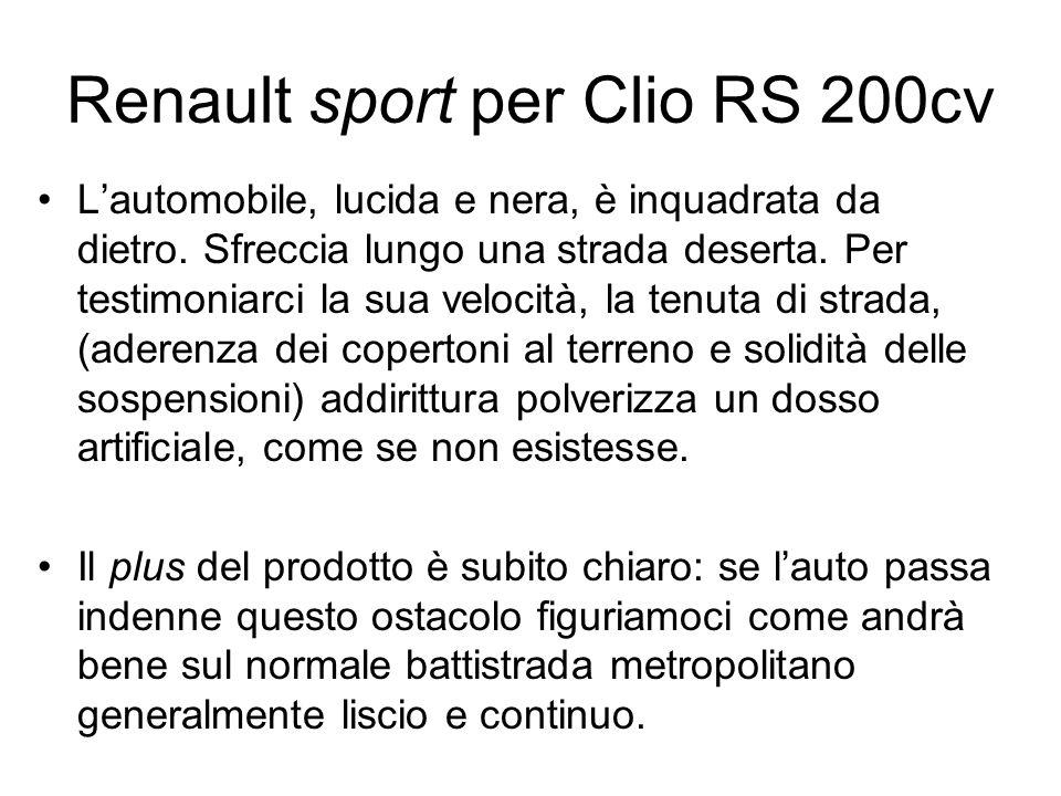 Renault sport per Clio RS 200cv Lautomobile, lucida e nera, è inquadrata da dietro.