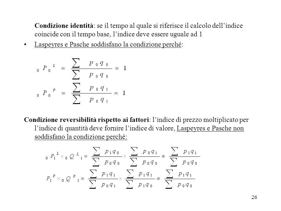 26 Condizione identità: se il tempo al quale si riferisce il calcolo dellindice coincide con il tempo base, lindice deve essere uguale ad 1 Laspeyres