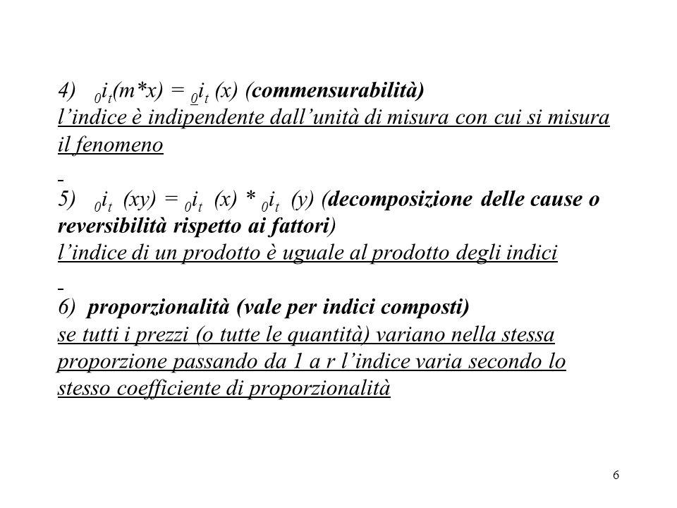 6 4) 0 i t (m*x) = 0 i t (x) (commensurabilità) lindice è indipendente dallunità di misura con cui si misura il fenomeno 5) 0 i t (xy) = 0 i t (x) * 0