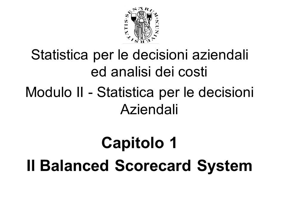 Statistica per le decisioni aziendali ed analisi dei costi Modulo II - Statistica per le decisioni Aziendali Capitolo 1 Il Balanced Scorecard System