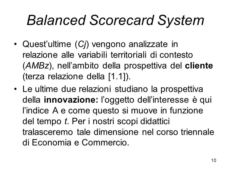 10 Balanced Scorecard System Questultime (Cj) vengono analizzate in relazione alle variabili territoriali di contesto (AMBz), nellambito della prospet