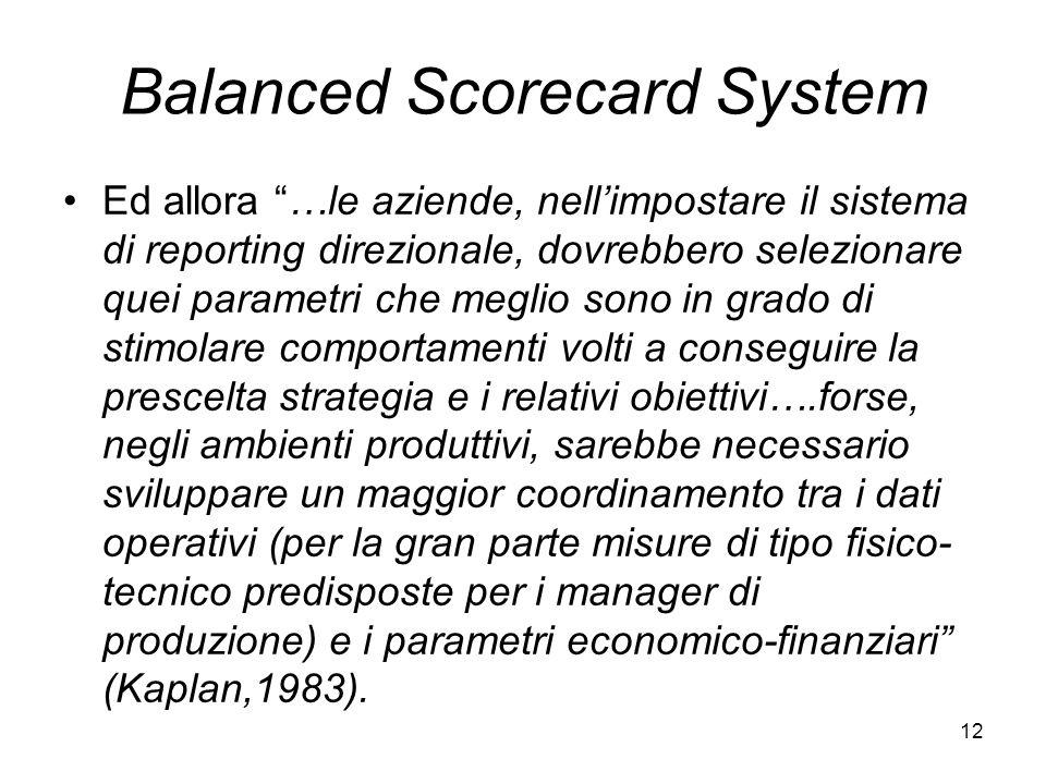 12 Balanced Scorecard System Ed allora …le aziende, nellimpostare il sistema di reporting direzionale, dovrebbero selezionare quei parametri che megli
