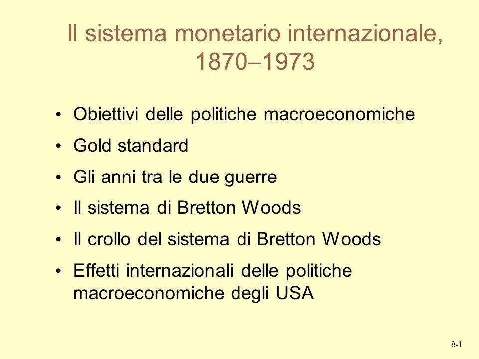 8-1 Il sistema monetario internazionale, 1870–1973 Obiettivi delle politiche macroeconomiche Gold standard Gli anni tra le due guerre Il sistema di Br