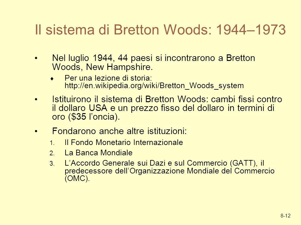 8-12 Il sistema di Bretton Woods: 1944–1973 Nel luglio 1944, 44 paesi si incontrarono a Bretton Woods, New Hampshire. Per una lezione di storia: http:
