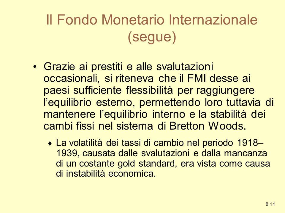8-14 Il Fondo Monetario Internazionale (segue) Grazie ai prestiti e alle svalutazioni occasionali, si riteneva che il FMI desse ai paesi sufficiente f