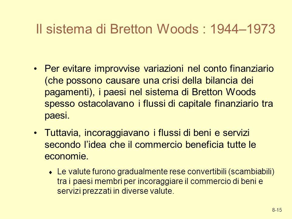 8-15 Il sistema di Bretton Woods : 1944–1973 Per evitare improvvise variazioni nel conto finanziario (che possono causare una crisi della bilancia dei