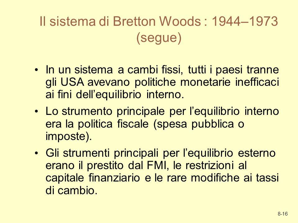8-16 Il sistema di Bretton Woods : 1944–1973 (segue) In un sistema a cambi fissi, tutti i paesi tranne gli USA avevano politiche monetarie inefficaci