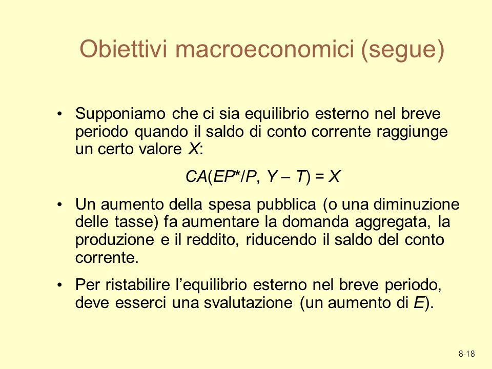 8-18 Obiettivi macroeconomici (segue) Supponiamo che ci sia equilibrio esterno nel breve periodo quando il saldo di conto corrente raggiunge un certo