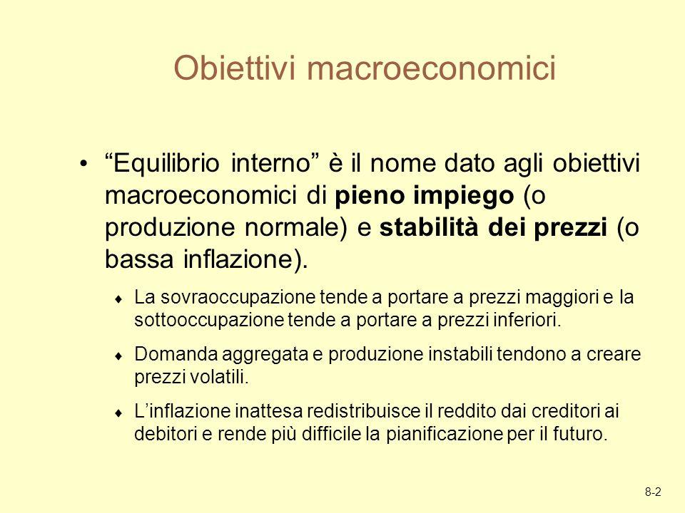 8-2 Obiettivi macroeconomici Equilibrio interno è il nome dato agli obiettivi macroeconomici di pieno impiego (o produzione normale) e stabilità dei p