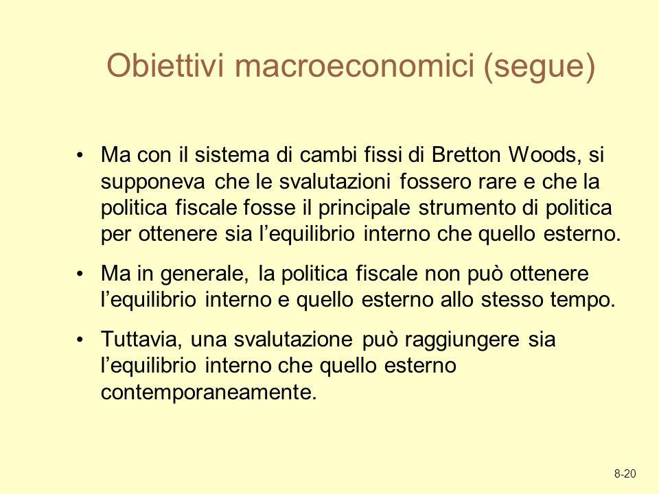 8-20 Obiettivi macroeconomici (segue) Ma con il sistema di cambi fissi di Bretton Woods, si supponeva che le svalutazioni fossero rare e che la politi