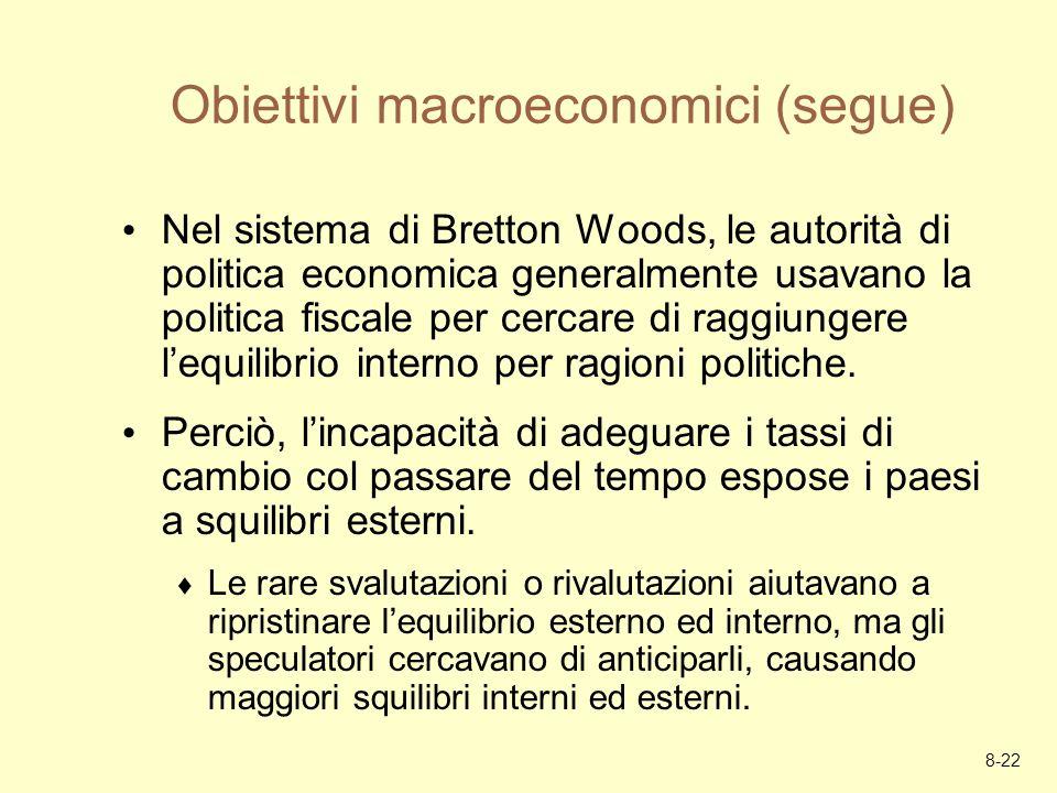 8-22 Obiettivi macroeconomici (segue) Nel sistema di Bretton Woods, le autorità di politica economica generalmente usavano la politica fiscale per cer