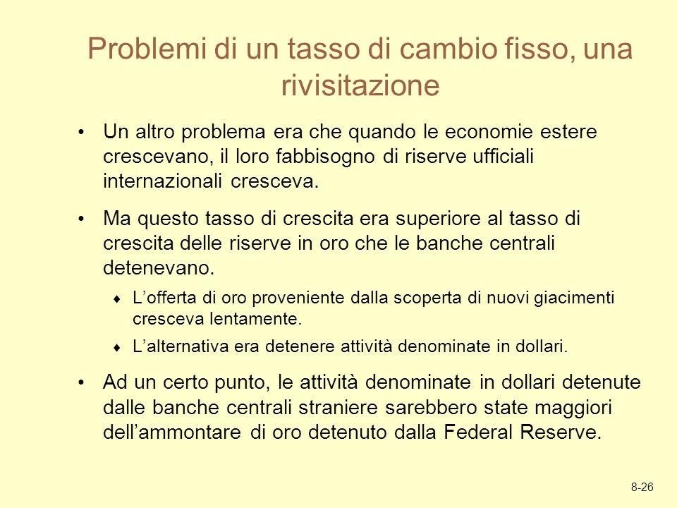 8-26 Problemi di un tasso di cambio fisso, una rivisitazione Un altro problema era che quando le economie estere crescevano, il loro fabbisogno di ris